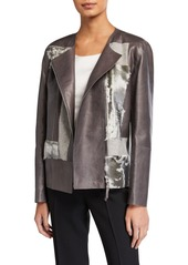 Lafayette 148 Toluca Lambskin Jacket with Calf Hair Patchwork
