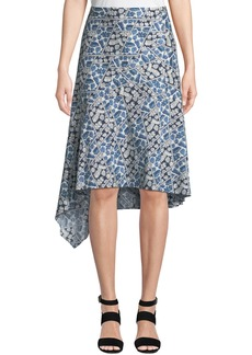 Lafayette 148 Tori Printed Asymmetric Cotton Skirt