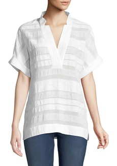 Lafayette 148 Travis Short-Sleeve Highland Textured-Stripe Blouse