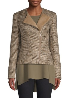 Lafayette 148 Trista Tweed & Leather Jacket