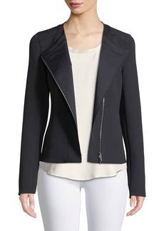 Lafayette 148 Trista Zip-Front Long-Sleeve Grid Cloth Jacket