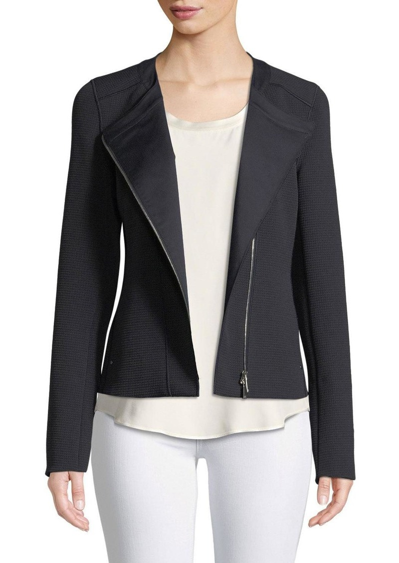 Lafayette 148 Trista Zip-Front Long-Sleeve Grid Cloth Jacket