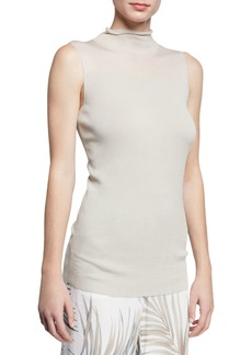 Lafayette 148 Turtleneck Sleeveless Finespun Voile Tank w/ Sheer Yoke