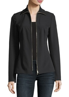 Lafayette 148 Turtleneck Zip-Front Stretch-Knit Jacket