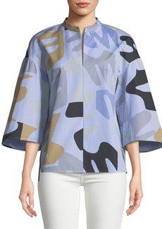 Lafayette 148 Carla Urban Ethos on Stripe Shirting Blouse
