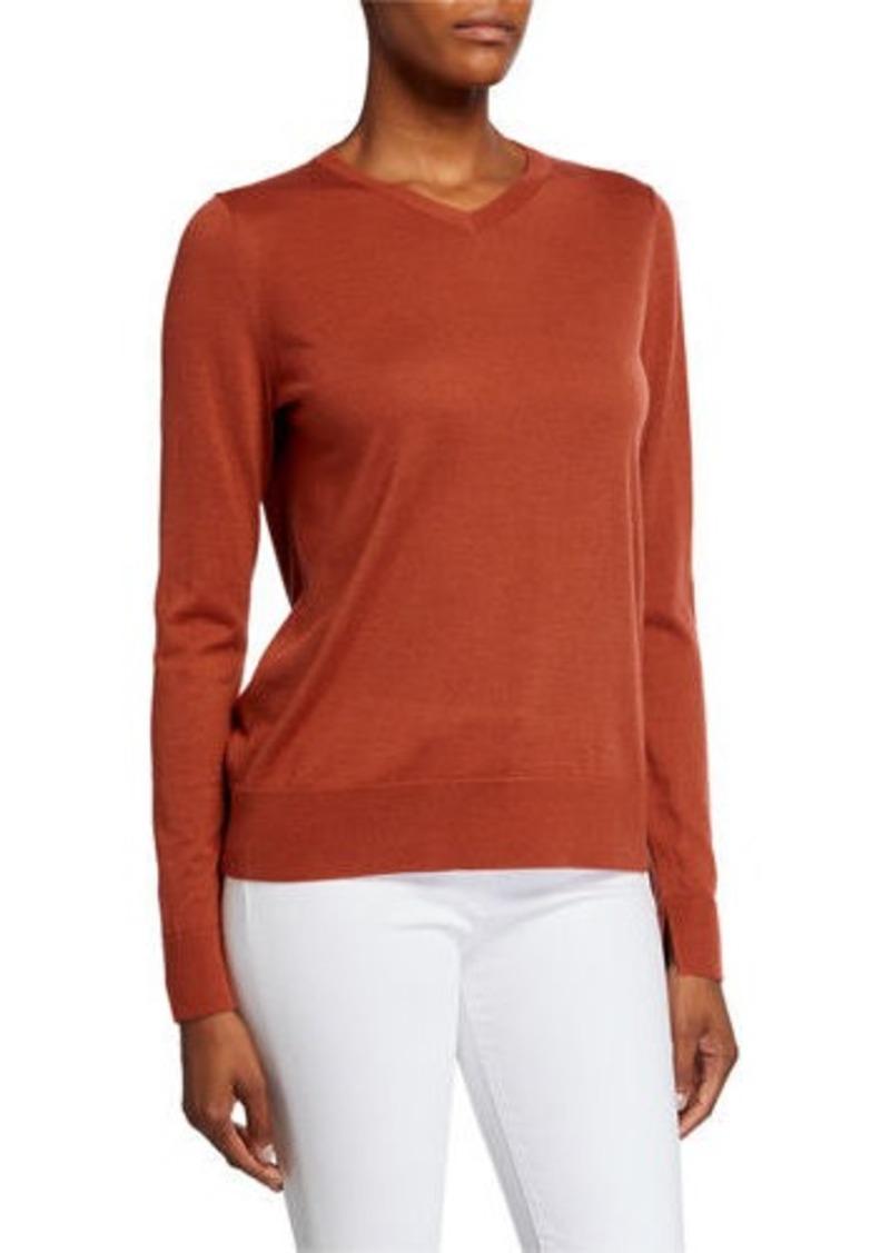 Lafayette 148 V-Neck Fine Gauge Merino Wool Sweater
