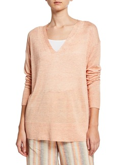 Lafayette 148 V-Neck Open-Sided Linen/Viscose Tunic