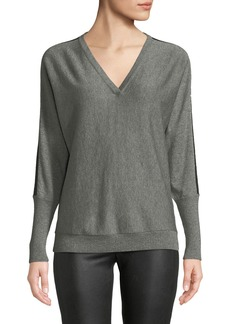 Lafayette 148 V-Neck Striped Dolman-Sleeve Metallic Cashmere Sweater