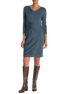Lafayette 148 V-Neck Wrap Front Wool Sheath Dress