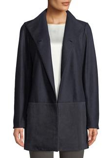 Lafayette 148 Valina Suede-Trimmed Coat