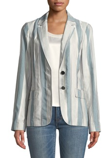 Lafayette 148 Vangie Embroidered Striped Blazer Jacket