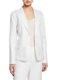 Lafayette 148 Vangie Lavish Linen Jacket with Embroidery Detail