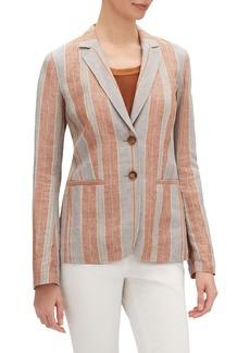 Lafayette 148 Vangie Lombardy-Stripe Two-Button Linen Jacket