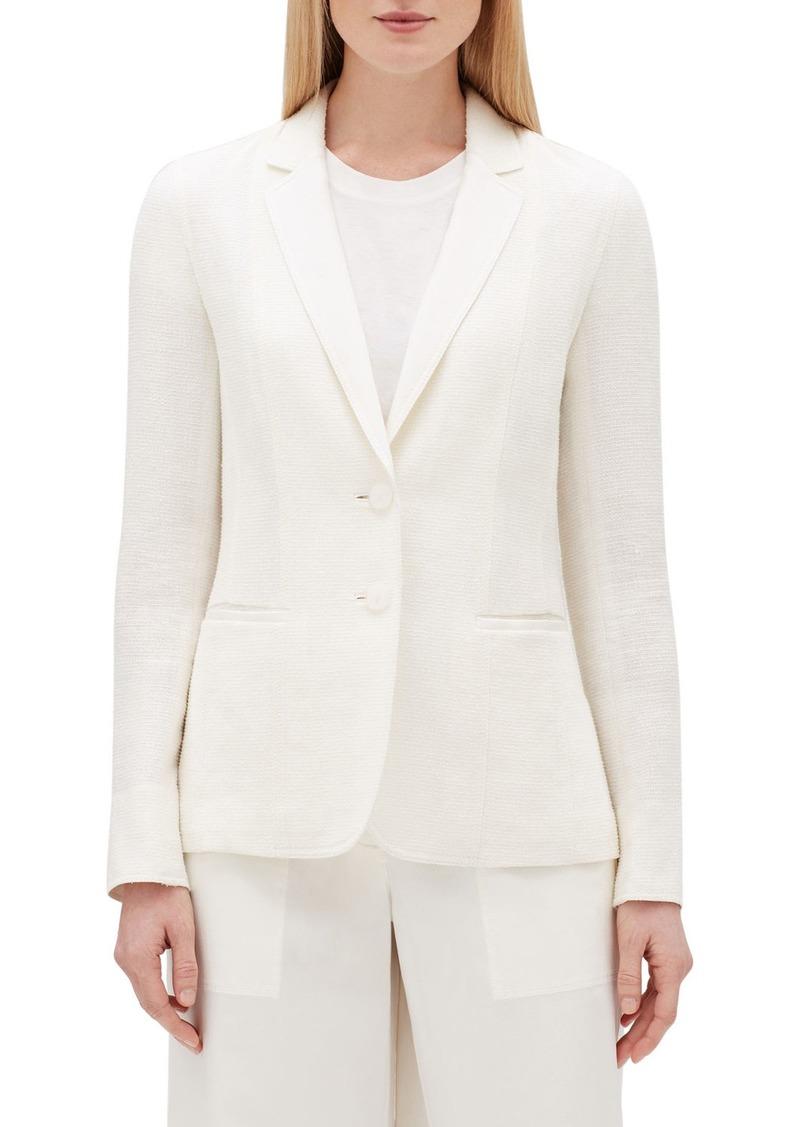 Lafayette 148 Vangie Rattan-Weave Button-Front Linen Jacket