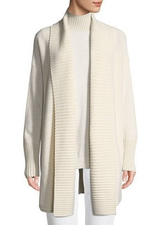 Lafayette 148 Vanise Long Ribbed-Trim Cashmere Cardigan