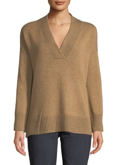 Lafayette 148 Vanise Ribbed V-Neck Cashmere Sweater