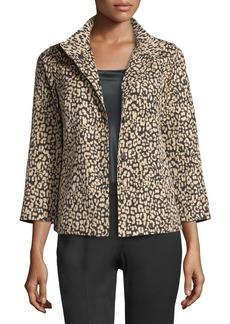 Lafayette 148 Vanna Leopard-Print Jacket  Black/Multi