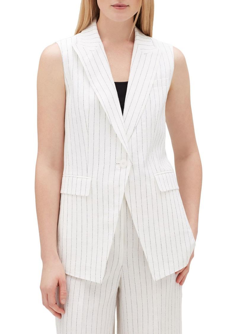 Lafayette 148 Vanya Arcadian Pinstripe One-Button Vest