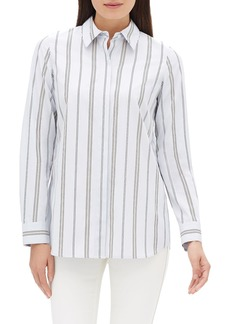 Lafayette 148 Velma Long-Sleeve Sonoran Striped Cotton Blouse