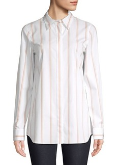 Lafayette 148 Velma Striped Button-Down Blouse