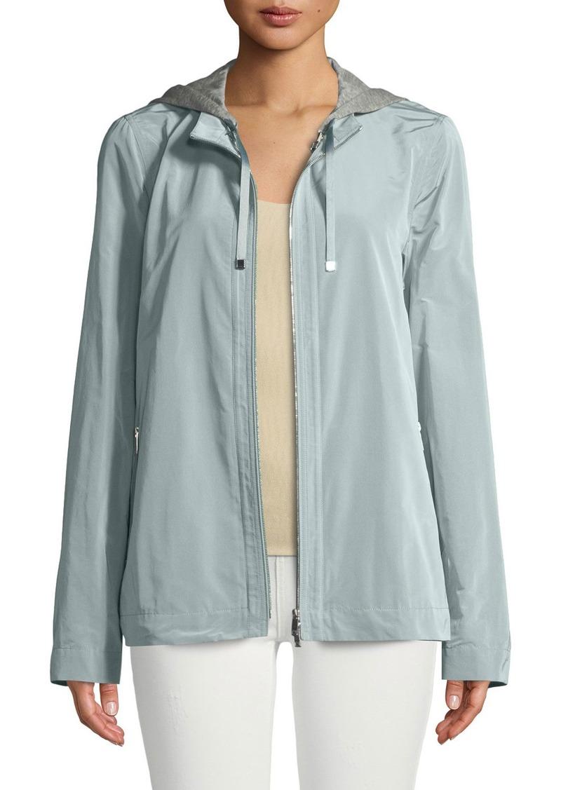 Lafayette 148 Ventura Empirical Tech-Cloth Jacket w/ Zip-Out Hoodie