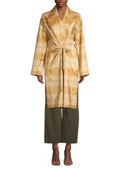 Lafayette 148 Vincenza Silk Plaid Topper Coat