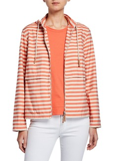 Lafayette 148 Vitality Stripes Joe Zip-Front Hoodie Jacket