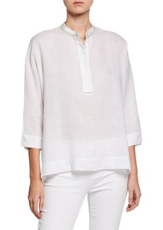 Lafayette 148 Viviana High-Low Linen Blouse