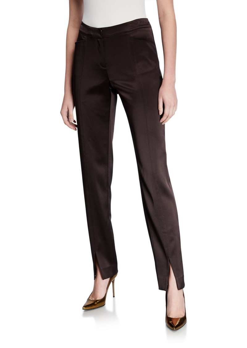 Lafayette 148 Waldorf Slim Reverie Satin Cloth Pants with Front Slit