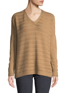 Lafayette 148 Wave-Stitch Wool Sweater