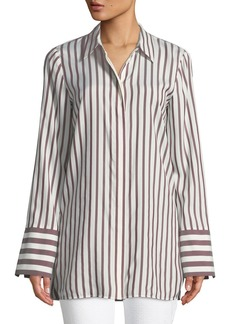 Lafayette 148 Waylon Showcase Stripe Silk Blouse