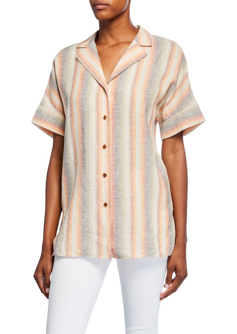 Lafayette 148 Wendell Skyscape Stripe Button-Down Linen Blouse