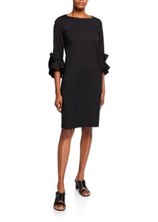 Lafayette 148 Whitby 3/4-Sleeve Classic Stretch Cotton Dress