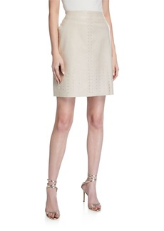 Lafayette 148 Whitley Leather Studded Skirt