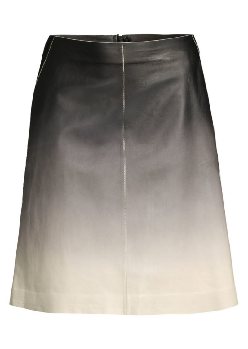 Lafayette 148 Whitley Ombré Leather A-Line Skirt