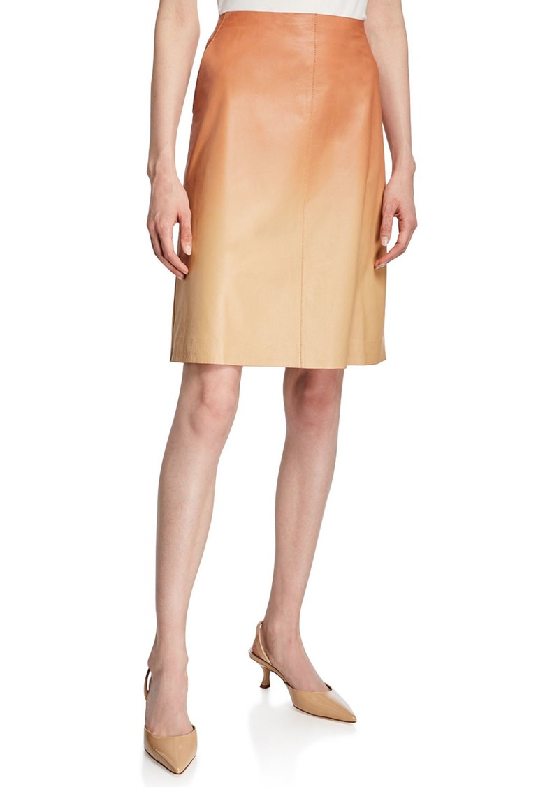 Lafayette 148 Whitley Ombre Lambskin Leather Skirt