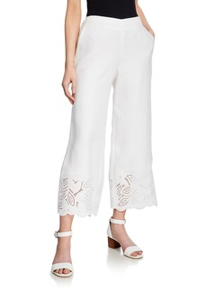 Lafayette 148 Wide-Leg Embroidered Cropped Pants