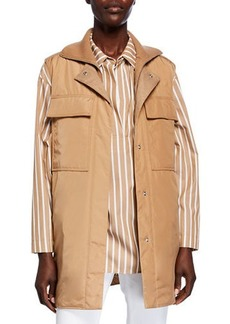 Lafayette 148 Willis Alpine Outerwear Vest with Knit Combo