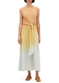 Lafayette 148 Winslet Prism Ombre Sleeveless Tie-Waist Maxi Dress