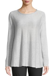 Lafayette 148 Wispy Linen-Blend Bateau-Neck Sweater  Silver