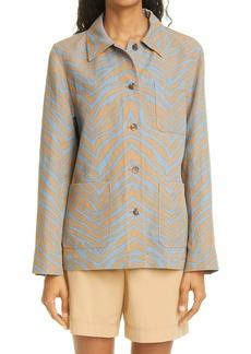 Women's Lafayette 148 New York Amaris Zebra Print Linen Shirt Jacket