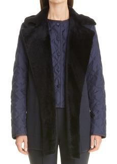 Women's Lafayette 148 New York Genuine Shearling Trim Belted Vest