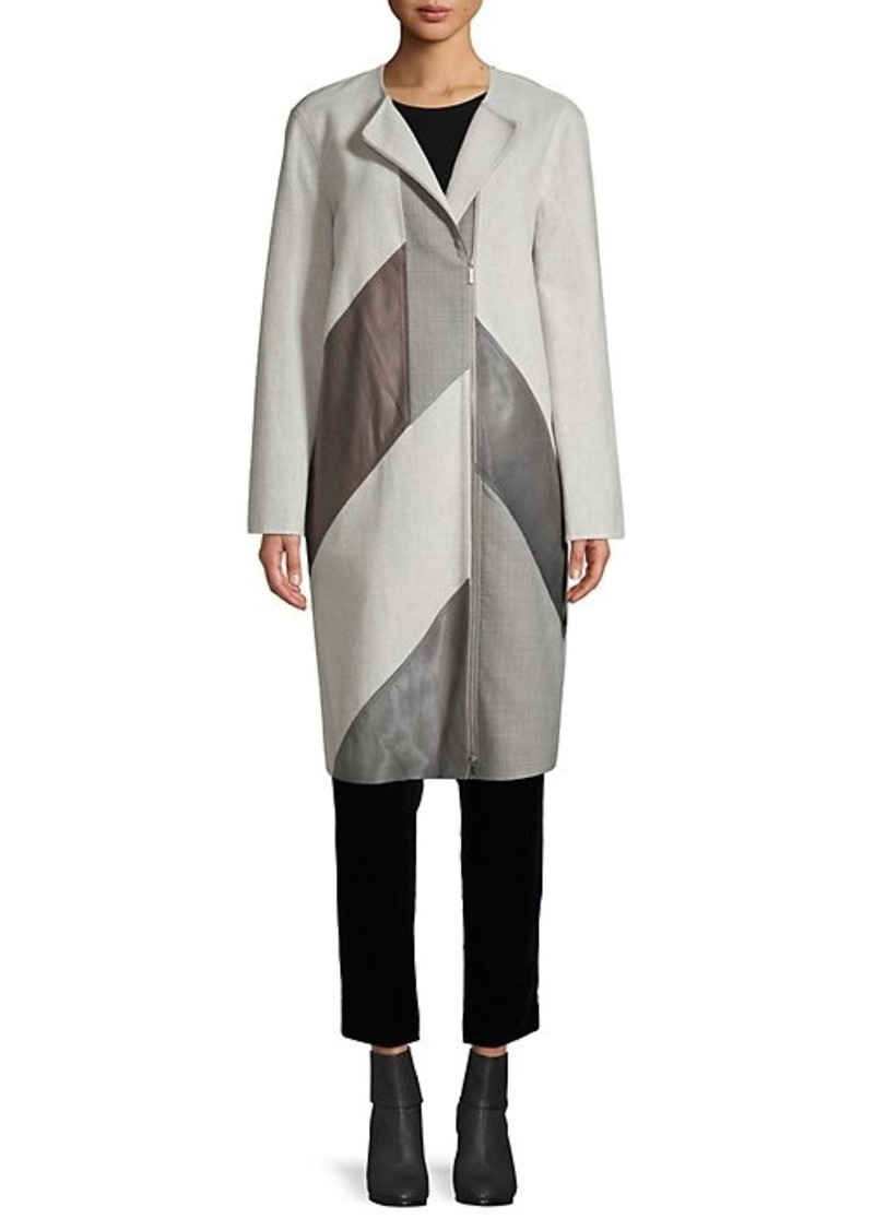 Lafayette 148 Wool-Blend, Calf Hair & Leather Combo Coat