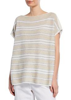 Lafayette 148 Woven Metallic Stripe Pullover Sweater