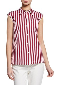 Lafayette 148 Yani Strada-Stripe Button-Front Sleeveless Blouse