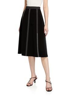 Lafayette 148 Yari High-Waist Topstitched Midi Skirt