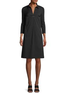 Lafayette 148 Zac Classic Stretch-Poplin Dress with Jersey Sleeves