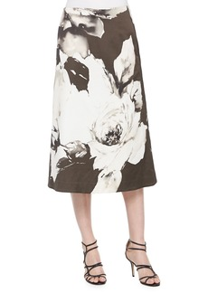 Lafayette 148 Zarita Vintage Roses Printed Tea-Length Skirt