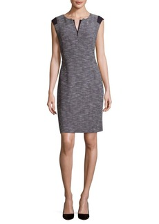 Lafayette 148 Zelina Split-Neck Sheath Dress