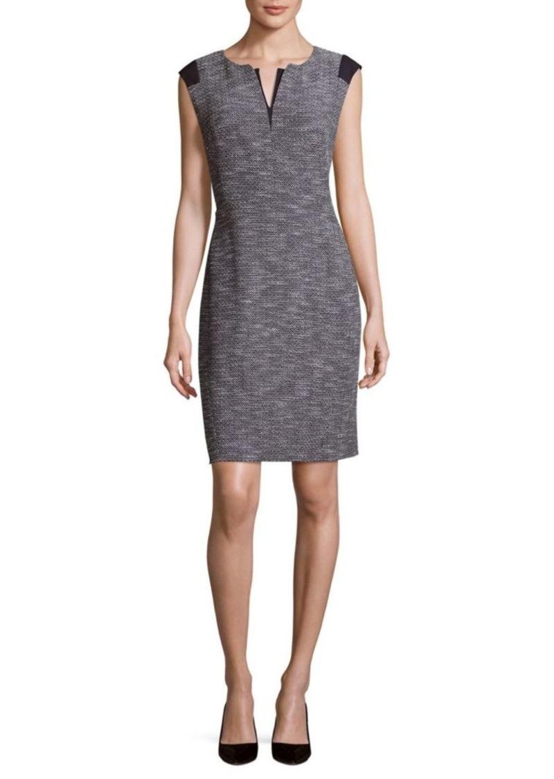 Lafayette 148 Zelina Split-Neck Sheath Dress